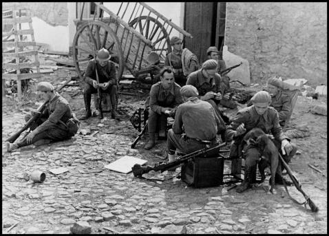 Republican soldiers resting, Spain, circa 1937