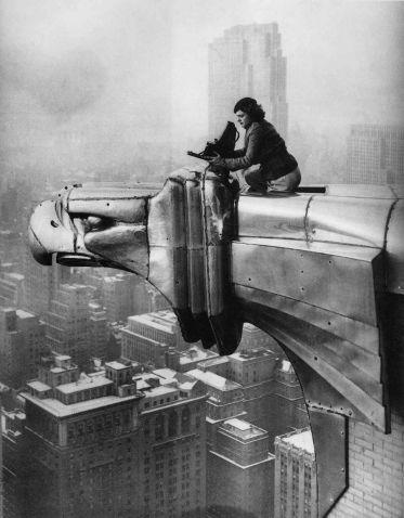 Margaret Bourke-White working atop Chrysler Building, New York City, 1934