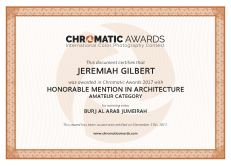 chromaticawards_certifcate_Jeremiah_Gilbert