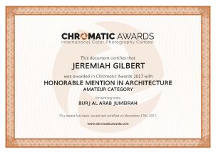chromaticawards_certifcate_Jeremiah_Gilbert