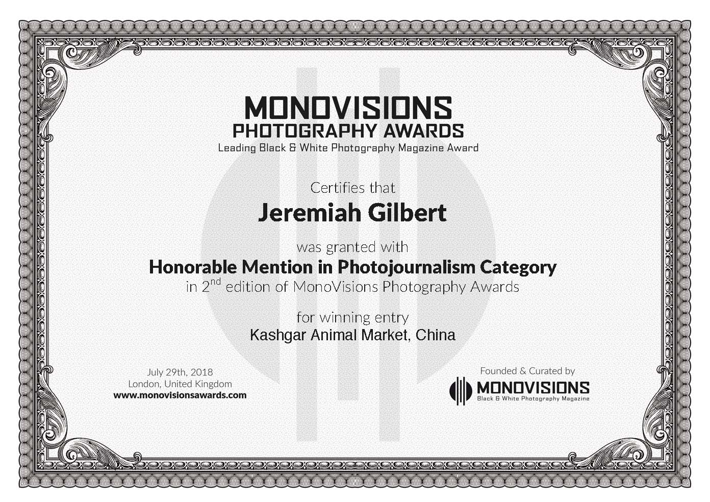 Awards – Make a Change   Honorable Mention Trophy